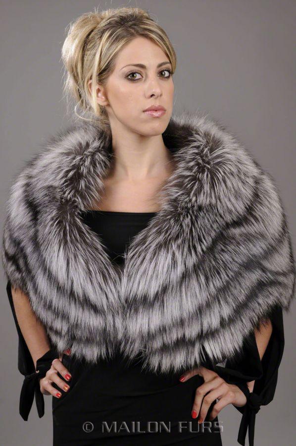SAGA FURS Silver Fox Fur stole - One Size