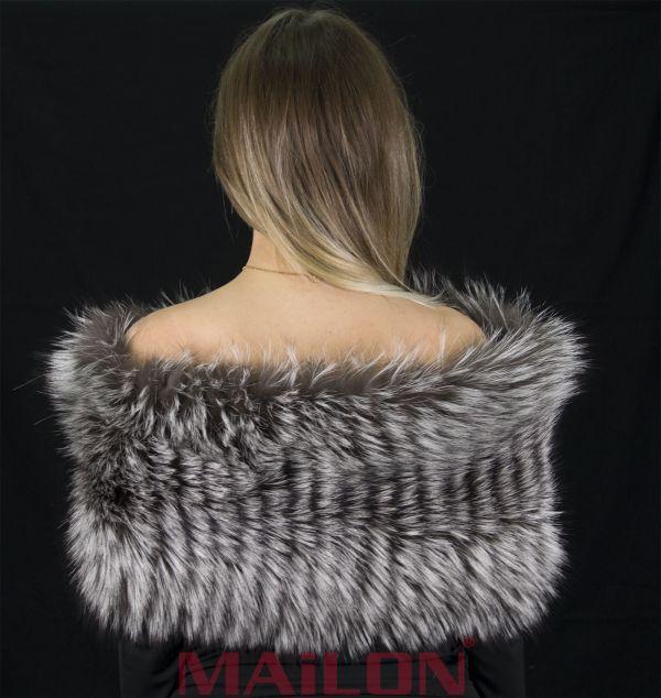 SAGA Silver Fox Fur Snood Neck Warmer Collar Stole with knitted wool