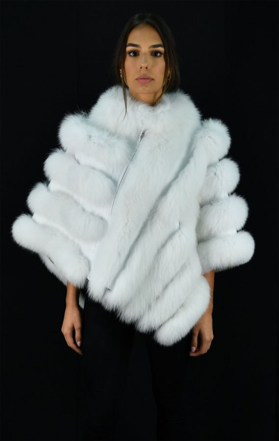 White SAGA Fox Fur Cape with Leather - One Size fits most
