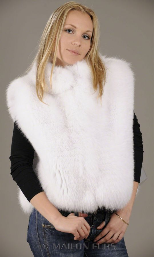 Feathered White Fox Fur Vest